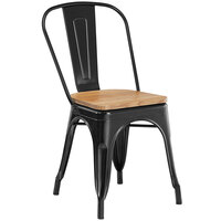 Lancaster Table & Seating Alloy Series Black Metal Indoor Industrial Cafe Chair with Vertical Slat Back and Natural Wood Seat