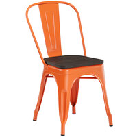 Lancaster Table & Seating Alloy Series Orange Metal Indoor Industrial Cafe Chair with Vertical Slat Back and Black Wood Seat