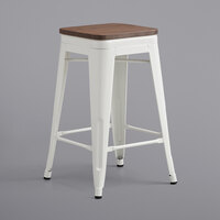 Lancaster Table & Seating Alloy Series White Metal Indoor Industrial Cafe Counter Height Stool with Walnut Wood Seat