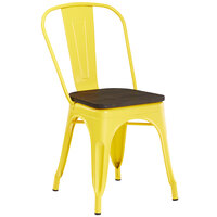 Lancaster Table & Seating Alloy Series Yellow Metal Indoor Industrial Cafe Chair with Vertical Slat Back and Black Wood Seat