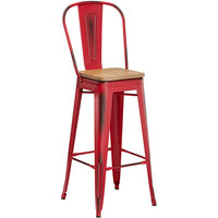 Lancaster Table & Seating Alloy Series Distressed Red Metal Indoor Industrial Cafe Bar Height Stool with Vertical Slat Back and Natural Wood Seat