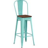 Lancaster Table & Seating Alloy Series Seafoam Metal Indoor Industrial Cafe Bar Height Stool with Vertical Slat Back and Walnut Wood Seat