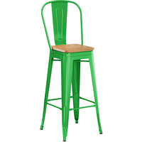 Lancaster Table & Seating Alloy Series Green Metal Indoor Industrial Cafe Bar Height Stool with Vertical Slat Back and Natural Wood Seat