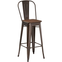 Lancaster Table & Seating Alloy Series Copper Metal Indoor Industrial Cafe Bar Height Stool with Vertical Slat Back and Walnut Wood Seat