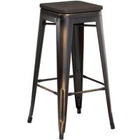 Lancaster Table & Seating Alloy Series Distressed Copper Metal Indoor Industrial Cafe Bar Height Stool with Black Wood Seat