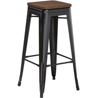 Lancaster Table & Seating Alloy Series Black Metal Indoor Industrial Cafe Bar Height Stool with Walnut Wood Seat