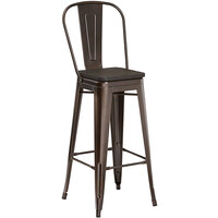 Lancaster Table & Seating Alloy Series Copper Metal Indoor Industrial Cafe Bar Height Stool with Vertical Slat Back and Black Wood Seat