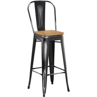Lancaster Table & Seating Alloy Series Distressed Black Metal Indoor Industrial Cafe Bar Height Stool with Vertical Slat Back and Natural Wood Seat