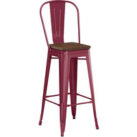 Lancaster Table & Seating Alloy Series Sangria Metal Indoor Industrial Cafe Bar Height Stool with Vertical Slat Back and Walnut Wood Seat