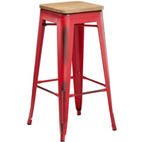 Lancaster Table & Seating Alloy Series Distressed Red Metal Indoor Industrial Cafe Bar Height Stool with Natural Wood Seat
