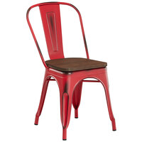 Lancaster Table & Seating Alloy Series Distressed Red Metal Indoor Industrial Cafe Chair with Vertical Slat Back and Walnut Wood Seat
