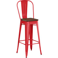 Lancaster Table & Seating Alloy Series Red Metal Indoor Industrial Cafe Bar Height Stool with Vertical Slat Back and Walnut Wood Seat