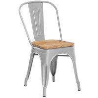 Lancaster Table & Seating Alloy Series Silver Metal Indoor Industrial Cafe Chair with Vertical Slat Back and Natural Wood Seat
