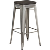 Lancaster Table & Seating Alloy Series Clear Coated Metal Indoor Industrial Cafe Bar Height Stool with Black Wood Seat