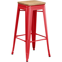 Lancaster Table & Seating Alloy Series Red Metal Indoor Industrial Cafe Bar Height Stool with Natural Wood Seat
