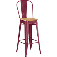 Lancaster Table & Seating Alloy Series Sangria Metal Indoor Industrial Cafe Bar Height Stool with Vertical Slat Back and Natural Wood Seat