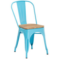 Lancaster Table & Seating Alloy Series Arctic Blue Metal Indoor Industrial Cafe Chair with Vertical Slat Back and Natural Wood Seat