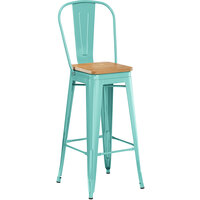 Lancaster Table & Seating Alloy Series Seafoam Metal Indoor Industrial Cafe Bar Height Stool with Vertical Slat Back and Natural Wood Seat
