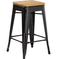 Lancaster Table & Seating Alloy Series Black Metal Indoor Industrial Cafe Counter Height Stool with Natural Wood Seat