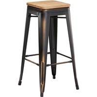Lancaster Table & Seating Alloy Series Distressed Copper Metal Indoor Industrial Cafe Bar Height Stool with Natural Wood Seat