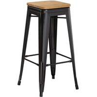 Lancaster Table & Seating Alloy Series Black Metal Indoor Industrial Cafe Bar Height Stool with Natural Wood Seat