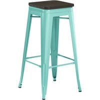 Lancaster Table & Seating Alloy Series Seafoam Metal Indoor Industrial Cafe Bar Height Stool with Black Wood Seat