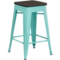 Lancaster Table & Seating Alloy Series Seafoam Metal Indoor Industrial Cafe Counter Height Stool with Black Wood Seat
