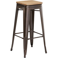 Lancaster Table & Seating Alloy Series Copper Metal Indoor Industrial Cafe Bar Height Stool with Natural Wood Seat