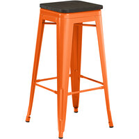 Lancaster Table & Seating Alloy Series Orange Metal Indoor Industrial Cafe Bar Height Stool with Black Wood Seat