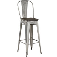 Lancaster Table & Seating Alloy Series Clear Coated Metal Indoor Industrial Cafe Bar Height Stool with Vertical Slat Back and Black Wood Seat