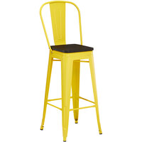 Lancaster Table & Seating Alloy Series Yellow Metal Indoor Industrial Cafe Bar Height Stool with Vertical Slat Back and Black Wood Seat
