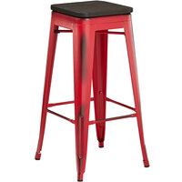 Lancaster Table & Seating Alloy Series Distressed Red Metal Indoor Industrial Cafe Bar Height Stool with Black Wood Seat