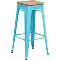 Lancaster Table & Seating Alloy Series Arctic Blue Metal Indoor Industrial Cafe Bar Height Stool with Natural Wood Seat