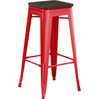 Lancaster Table & Seating Alloy Series Red Metal Indoor Industrial Cafe Bar Height Stool with Black Wood Seat