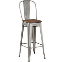 Lancaster Table & Seating Alloy Series Clear Coated Metal Indoor Industrial Cafe Bar Height Stool with Vertical Slat Back and Walnut Wood Seat