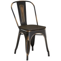 Lancaster Table & Seating Alloy Series Distressed Copper Metal Indoor Industrial Cafe Chair with Vertical Slat Back and Black Wood Seat