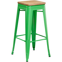 Lancaster Table & Seating Alloy Series Green Metal Indoor Industrial Cafe Bar Height Stool with Natural Wood Seat