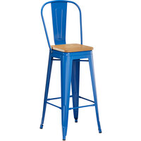 Lancaster Table & Seating Alloy Series Blue Metal Indoor Industrial Cafe Bar Height Stool with Vertical Slat Back and Natural Wood Seat