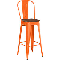 Lancaster Table & Seating Alloy Series Orange Metal Indoor Industrial Cafe Bar Height Stool with Vertical Slat Back and Walnut Wood Seat