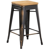 Lancaster Table & Seating Alloy Series Distressed Copper Metal Indoor Industrial Cafe Counter Height Stool with Natural Wood Seat