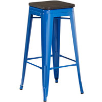 Lancaster Table & Seating Alloy Series Blue Metal Indoor Industrial Cafe Bar Height Stool with Black Wood Seat