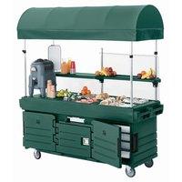 Cambro CamKiosk KVC856C519 Green Customizable Vending Cart with 6 Pan Wells and Canopy