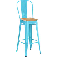 Lancaster Table & Seating Alloy Series Arctic Blue Metal Indoor Industrial Cafe Bar Height Stool with Vertical Slat Back and Natural Wood Seat