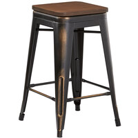 Lancaster Table & Seating Alloy Series Distressed Copper Metal Indoor Industrial Cafe Counter Height Stool with Walnut Wood Seat