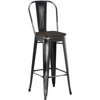 Lancaster Table & Seating Alloy Series Distressed Black Metal Indoor Industrial Cafe Bar Height Stool with Vertical Slat Back and Black Wood Seat