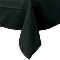 54 inch x 81 inch Rectangular Black Hemmed Polyspun Cloth Table Cover