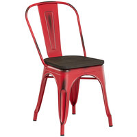 Lancaster Table & Seating Alloy Series Distressed Red Metal Indoor Industrial Cafe Chair with Vertical Slat Back and Black Wood Seat