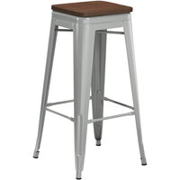Lancaster Table & Seating Alloy Series Silver Metal Indoor Industrial Cafe Bar Height Stool with Walnut Wood Seat