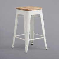 Lancaster Table & Seating Alloy Series White Metal Indoor Industrial Cafe Counter Height Stool with Natural Wood Seat