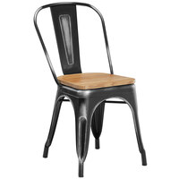 Lancaster Table & Seating Alloy Series Distressed Black Metal Indoor Industrial Cafe Chair with Vertical Slat Back and Natural Wood Seat